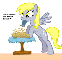 Derpy sprinkles the muffins. by Ask-BlueLavafall