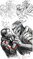Saren and Shepard WIP by efleck