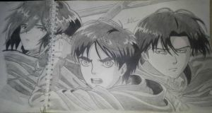 Eren jeager , Mikasa ackerman and Levi by midosdm