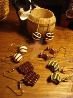 Chocolate earrings by sugaroverdose-crafts