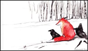 Crows and Fox. by MademoiselleOrtie