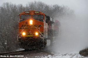 BNSF 6393 pickin up the snow by EternalFlame1891