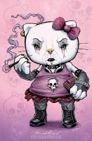 Goth Hello Kitty by flylanddesigns