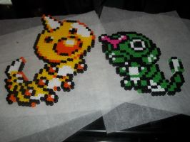 Caterpie and Weedle Perler by Libbyseay