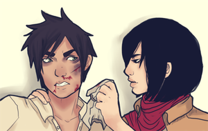 SNK: Mikasa and Eren by hirsche