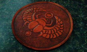leather Egyptian scarab patch art by Skinz-N-Hydez