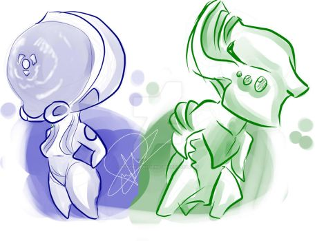 my version of mag and volt chibi by graphi-lightning