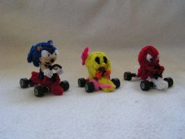 Sonic, Ms. Pac Man, Blinky by fuzzyfigureguy