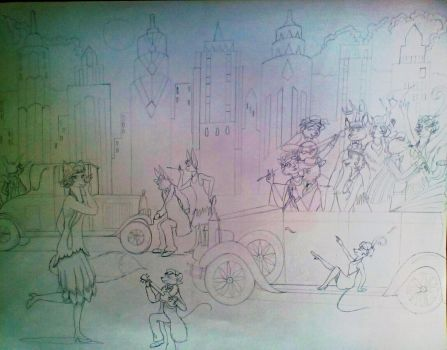 Flapper Foxy's Flivver Party-Sketch by FlapperFoxy