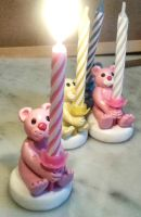 Polymer Clay Bear Birthday Candle Holders by tyney123
