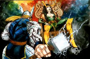 Thor and lady loki at the bifrost by physicdesigns