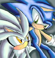 Sonic and Silver by KuroiKyuubi