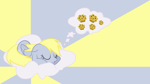 Derpy dreaming with Muffins Wallpaper by BlueDragonHans
