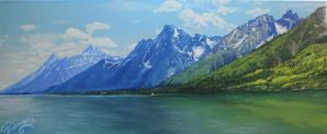 Tetons at Jackson Lake by artbyjpp