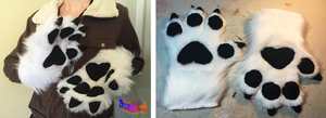 (SOLD) White Four Finger Handpaws by TECHNlCOLOUR