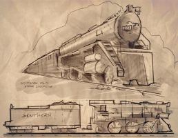 013 - Steam locomotive study by e-will