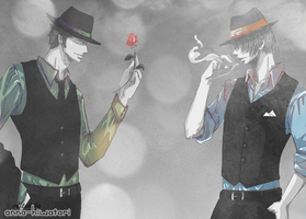 Zoro Sanji suits color splash by AnnaHiwatari