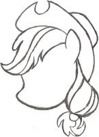 My Little Pony Sketch - Applejack's Head by AncientOwl