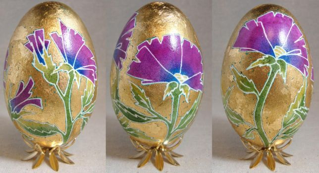 Art Nouveau Gold and Pink Flowers on Goose Egg by Natakuaya