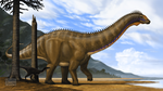 Apatosaurus excelsus and Ornitholestes hermanni by MicrocosmicEcology