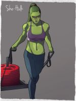 Commission: She-Hulk - Working Out by KHAN-04
