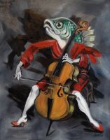 Fish Playing Cello (the oil version) by ellemrcs