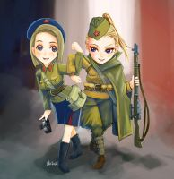 Soviet female soldiers by lazyseal8