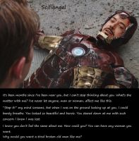 Iron Man's thoughts #1-A tired broken old man. by Scifiangel