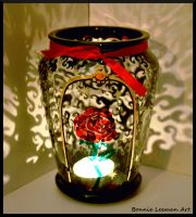 Rose Swirl Candle Holder by Bonniemarie