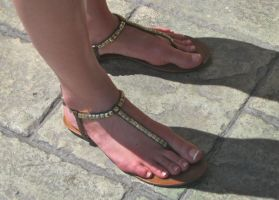 French Pedi in Studded Sandals by Feetatjoes