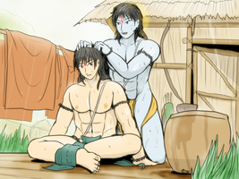 Rama and Lakshmana - The bath time by VachalenXEON
