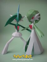 Gardevoir + Gallade Papercraft by Olber-Correa
