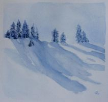 Fir trees in the snow by Emi-Gemini