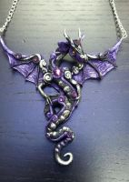 Black and Purple Dragon Necklace by AstridMakosla