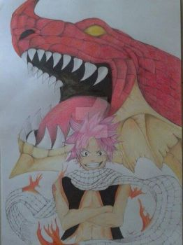 Natsu and Igneel by serre93