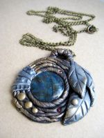 Labradorite Amulet, Gold and Silver Leaves by RoyalKitness