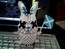 3D Origami Scottish bunny by OneLoneTree