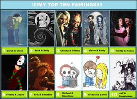 Top Ten Pairings Meme Done By Moi! :) by IddyBiddySquish