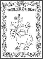 Town Musicians of Bremen - Storybook/coloring Page by FractalBee