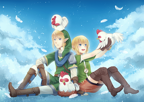 Hyrule Warriors:Link and Linkle by sickravens