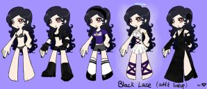 Black Lace outfit lineup by Arorea