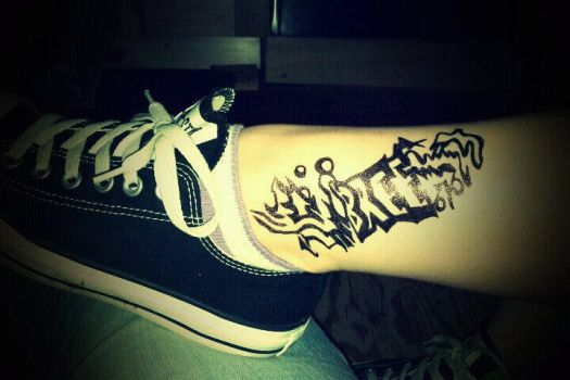 Bree's Ankle Sharpie Tattoo by TiarrahRose
