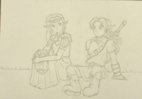 Zelda and Link - Lineart by tite-pao