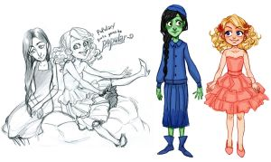Wicked the Musical: Glinda and Elphaba by curry23