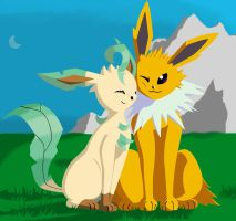 Leafeon and Jolteon by Eeveelutionist