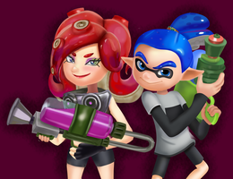 Octoling and Blue by GenerallyUnamused