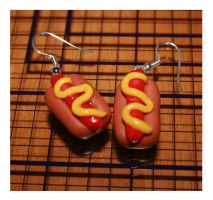 Hotdogs with Mustard Earrings by bettenoir87