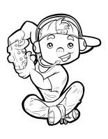 Gaming Kid Lineart by webion