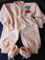 Knitted Baby Set Overall and Booties with Cherry d by MagicalString