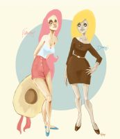 Fluttershy and Derpy Hooves by rembee